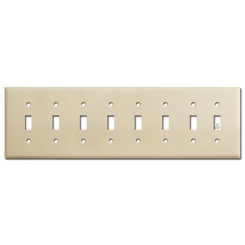 8 Gang Toggle Wall Plates - Ivory