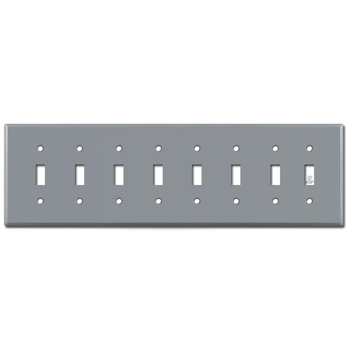 8 Gang Toggle Wallplate - Gray