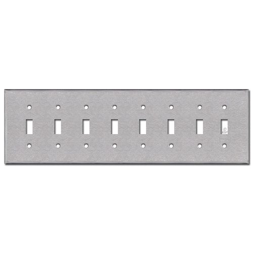 Eight Toggle Switch Plates - Satin Stainless Steel