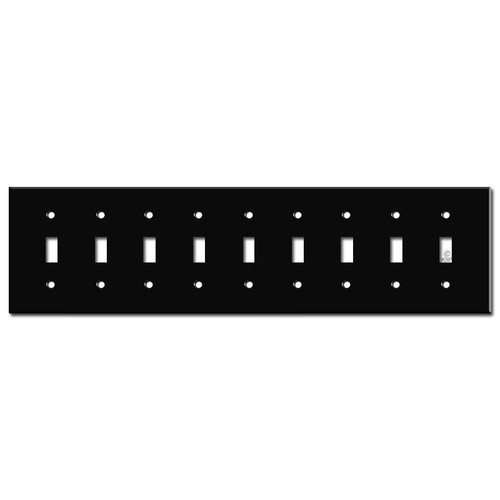 Nine Toggle Wall Plate - Black