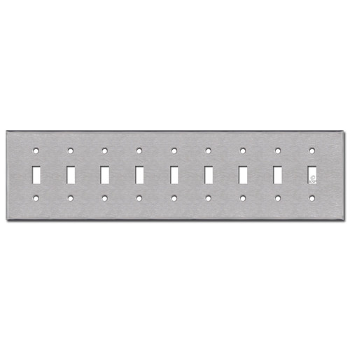 9 Toggle Switchplate - Satin Stainless Steel