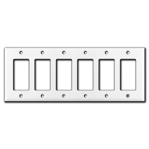 6 Gang Decora Switch Wall Plate - White