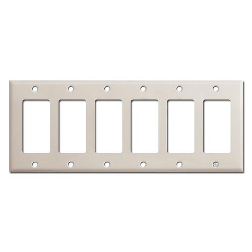 6 Rocker Switch Plate Cover - Light Almond