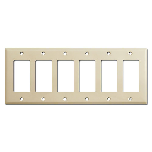 6 Gang Decora Switch Wall Plate - Ivory