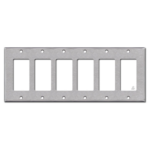 6 GFCI Decora Rocker Switch Plate - Spec Grade Stainless Steel