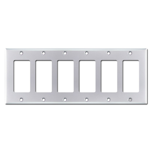 6 Gang Decora Cover Plates - Polished Chrome