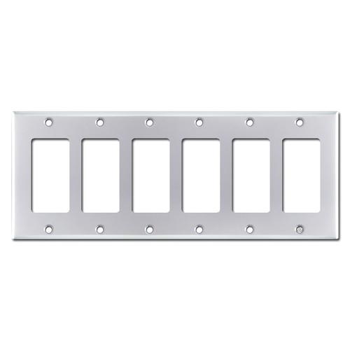 6 Gang Decora Cover Plates - Polished Chrome