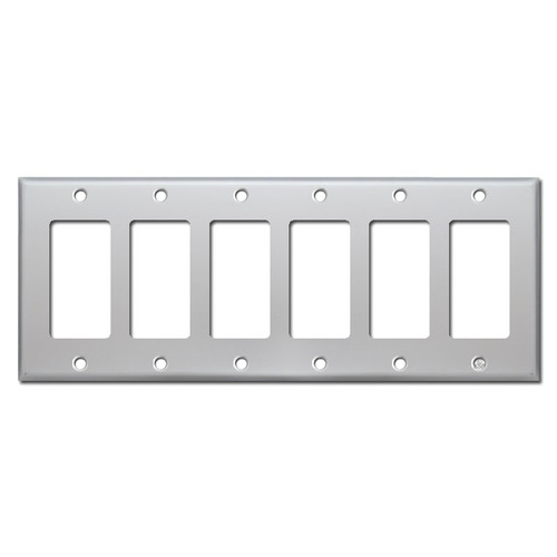 6 Rocker Switchplate - Brushed Aluminum