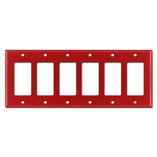 6 Gang Rocker Cover Plate - Red