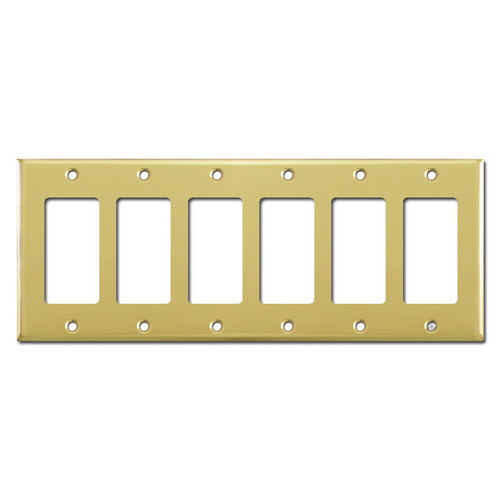 Six Decora Switch Plates - Polished Brass