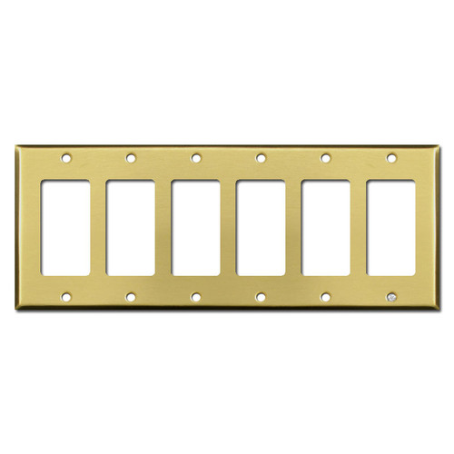 Six Rocker Switch Plate Cover - Satin Brass