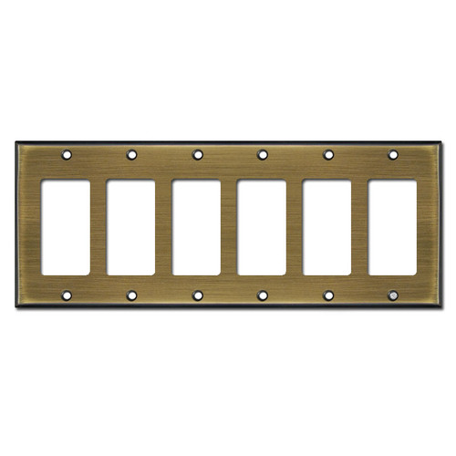 Six GFCI Wall Plate - Antique Brass