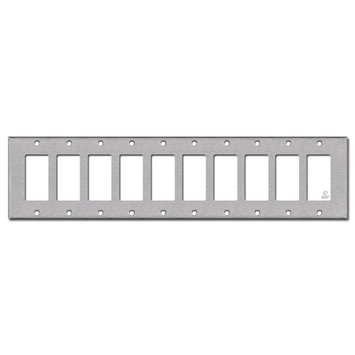 10 Rocker Switch Plate Covers - Satin Stainless Steel