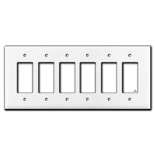 Oversized 6 Decora Switch Plates - White