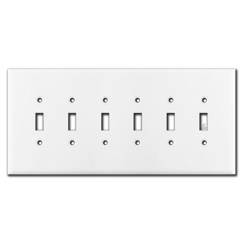 Jumbo 6 Gang Toggle Switch Plates - White