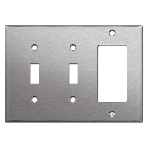 Stainless Steel Combo Switch Plate with 2 Toggles and 1 GFCI Decora Rocker