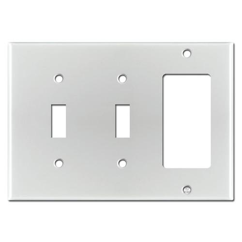 1 GFCI 2 Toggle Wall Plates - Brushed Aluminum