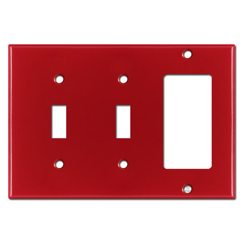 Double Toggle Single Rocker Wall Plate - Red