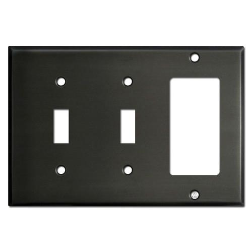Double Toggle GFCI Switch Plate - Dark Bronze