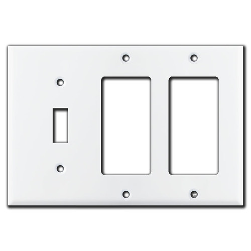 1 Toggle 2 Rocker Wall Plate - White