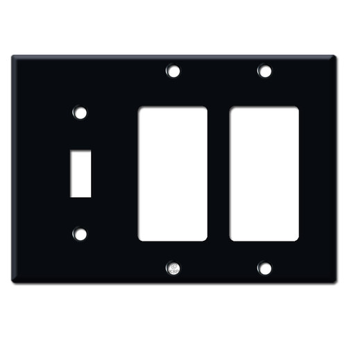 2 Rocker 1 Toggle Wall Plates - Black