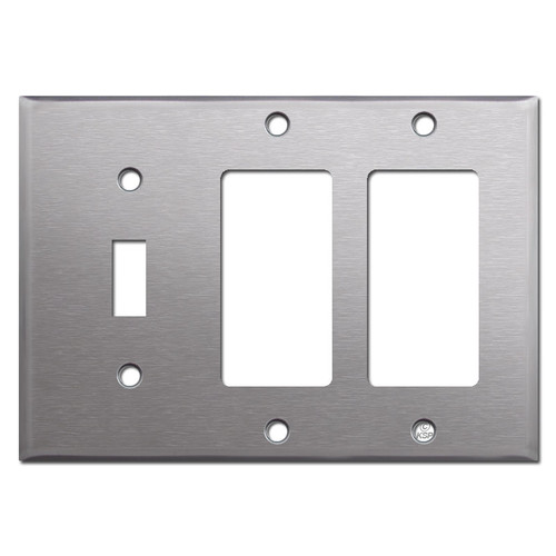 1 Toggle / 2 Rocker Stainless Steel Switch Plate