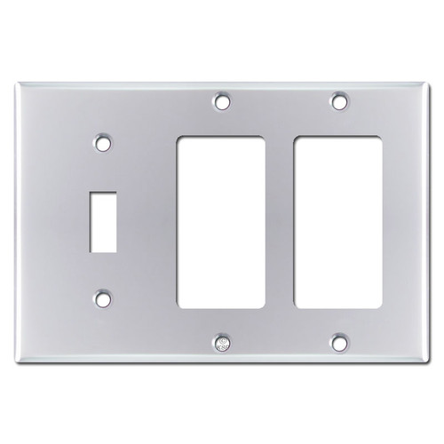 2 Decora 1 Toggle Switch Plate Covers - Polished Chrome