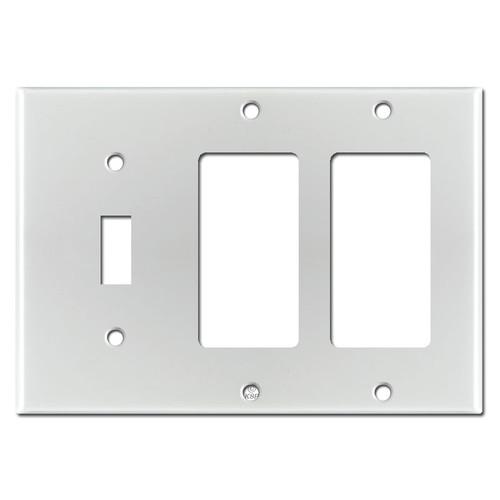 2 GFCI 1 Toggle Wall Plate - Brushed Aluminum