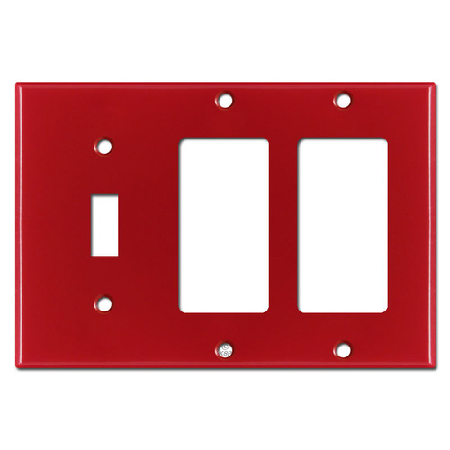 Single Toggle Double Rocker Switchplates - Red