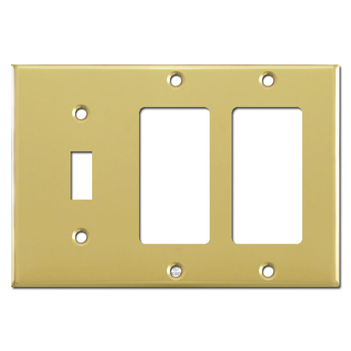 Single Toggle Double Decora Switch Plates - Polished Brass