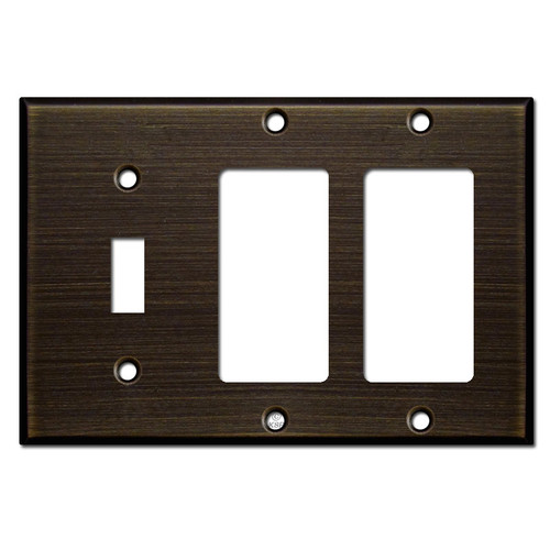 Double Rocker Single Toggle Switch Plate - Oil Rubbed Bronze