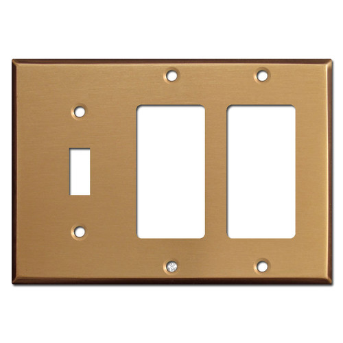 Double GFCI Single Toggle Wallplate - Satin Bronze
