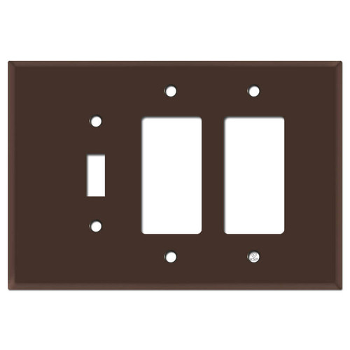 Oversized Toggle and Two Rocker Combo Switch Plate - Brown