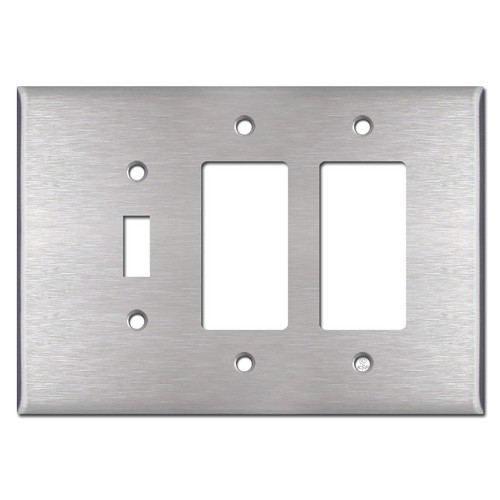 Oversized Toggle and Two Rocker Combo Switch Plate - Satin Stainless Steel