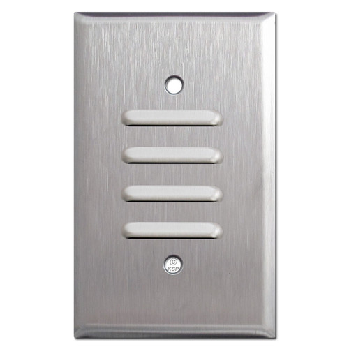 1 Vertical Vented Switch Plate - Satin Stainless Steel