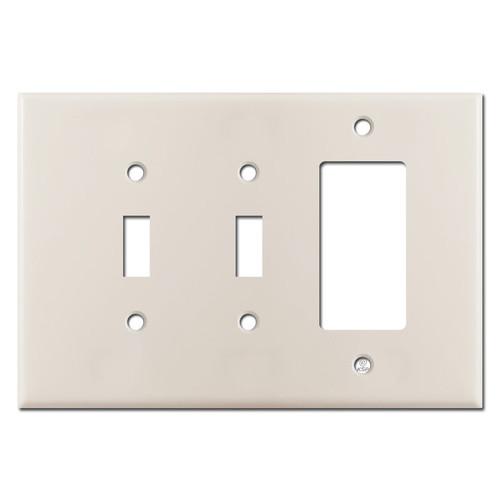 Oversized 2 Toggle 1 Decora Switch Wall Plate - Light Almond