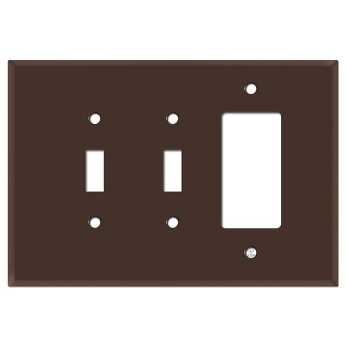 Oversized Double Toggle Single Rocker Switch Plate - Brown