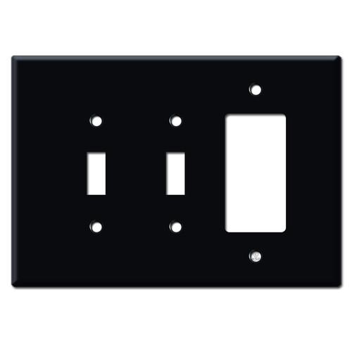 Jumbo Double Toggle Single Decora Switch Plates - Black