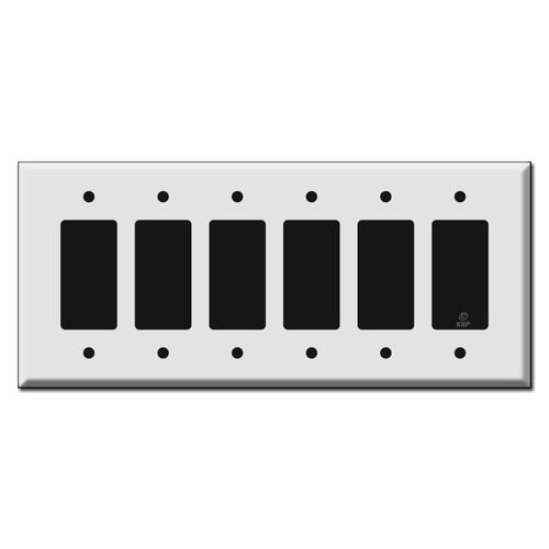 Jumbo 6 Gang Rocker Switch Plate