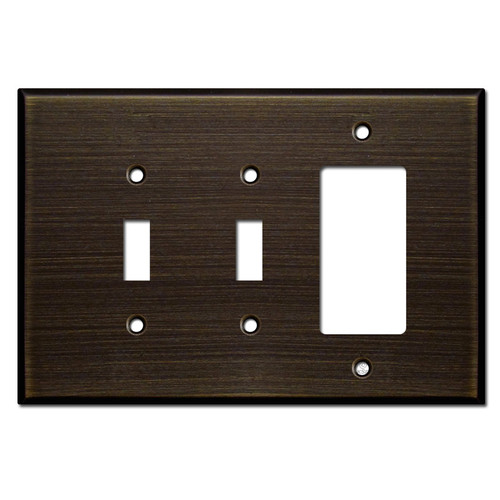 Oversized 1 Rocker 2 Toggle Wall Plate - Oil Rubbed Bronze