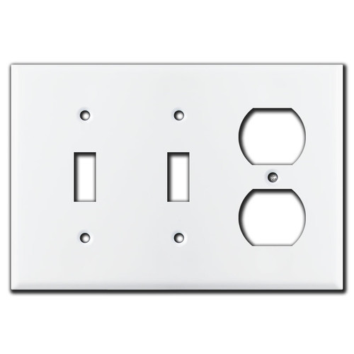 2 Toggle/1 Duplex Outlet Wallplate - White