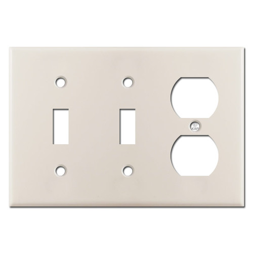2 Toggle Duplex Switch Plate - Light Almond