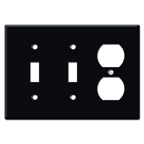 2 Toggle Duplex Plate - Black