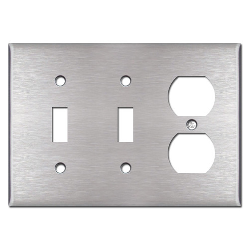 Combination 2 Toggle 1 Duplex Outlet Cover Plate - Stainless Steel