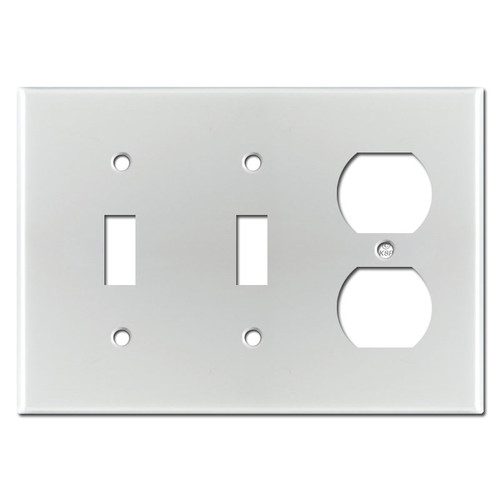 3-Gang 2-Toggle 1-Duplex Switch Plate - Brushed Aluminum