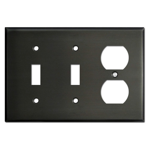 Two Toggle One Outlet Wall Plate - Dark Bronze