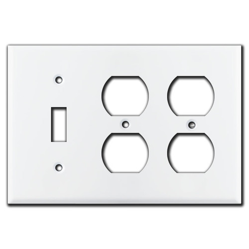 1 Toggle 2 Duplex Switch Plate - White