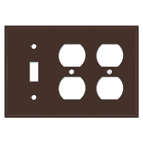 2 Duplex 1 Toggle Wall Plate - Brown