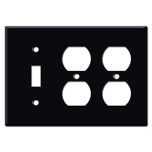 2 Duplex 1 Toggle Switch Plates - Black