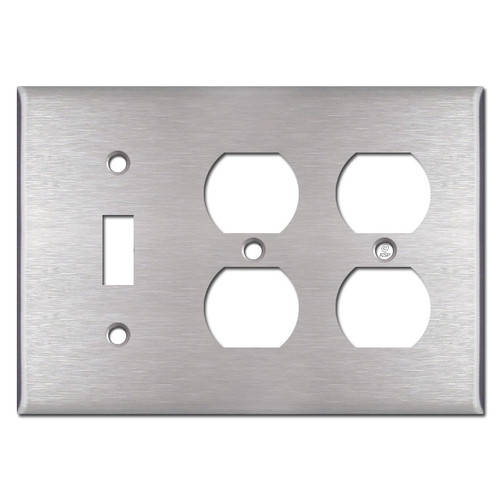 3-Gang 2-Duplex 1-Toggle  - Satin Stainless Steel